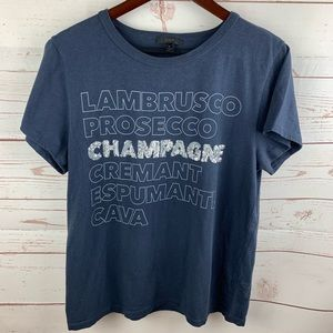 J. Crew | Champagne Silver Sequin Blue T Shirt